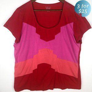 3/$25 Van Heusen Red Colorblock Jersey Knit Tee